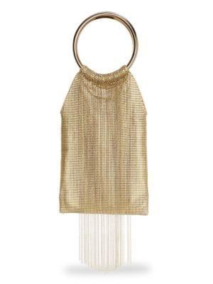 Gold Rush Fringe Metal Mesh Bracelet Clutch