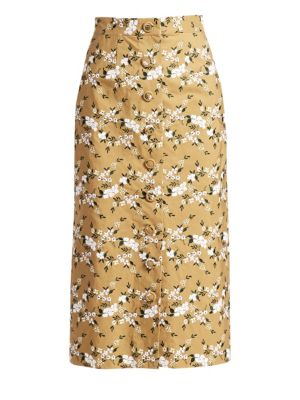 Gainor Floral Embroidered Button Front Pencil Skirt