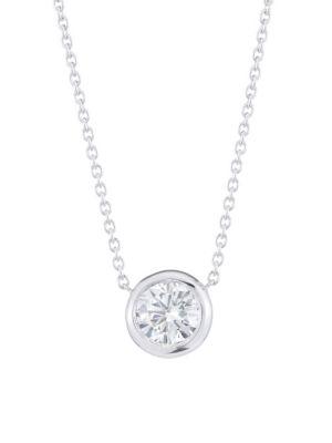 Diamond By The Inch 18K White Gold & Diamond Circle Pendant Necklace