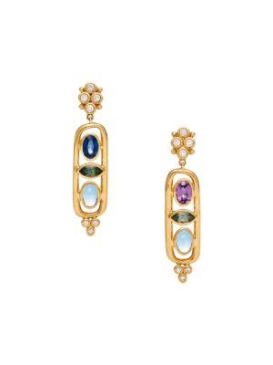 Nature Deconstructed Theodora 18K Yellow Gold, Diamond & Mixed-Stone Cartouche Earrings