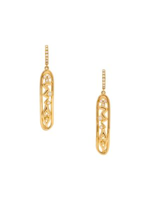 Nature Deconstructed River Wave 18K Yellow Gold & Diamond Cartouche Earrings