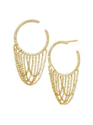 14K Gold & Diamond Hoop Chain-Drop Earrings