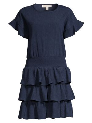 Smocked Waist Ruffled Crinkle Dress