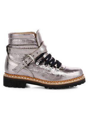 Neela Metallic Leather Combat Boots