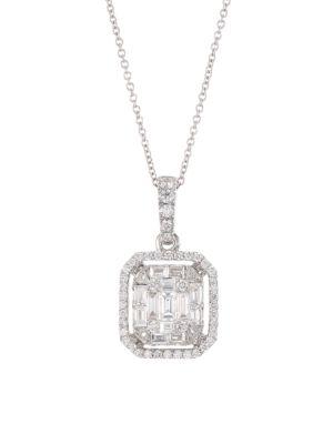 Mosaic 18K White Gold & Diamond Pendant Necklace