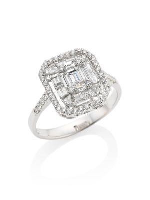 Mosaic 18K White Gold & Diamond Ring