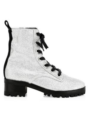 Poinsetia Glitter Combat Boots