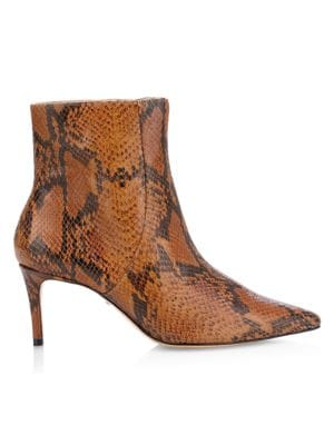 Bette Snakeskin-Embossed Leather Ankle Boots
