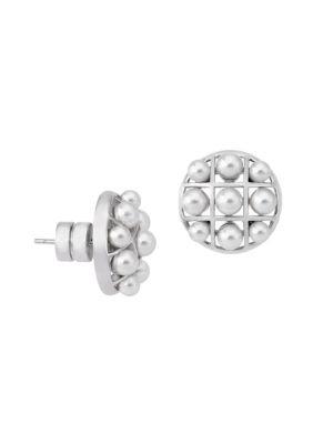 Allegra Faux-Pearl & Stainless Steel Cage Stud Earrings