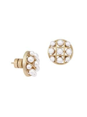 Allegra Faux-Pearl & Goldplated Cage Stud Earrings