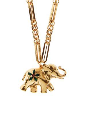 Large Elephant Goldtone Swarovski Crystal Necklace