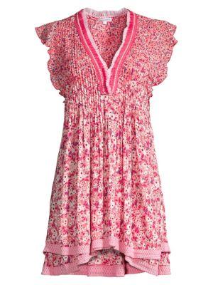 Sasha Floral Plissé Tiered Hem Mini Dress