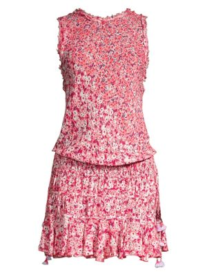 Soleded Floral Tweed Trim Smocked Waist Dress