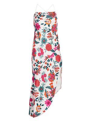 Floral Bias Cut Asymmetric Slip Dress