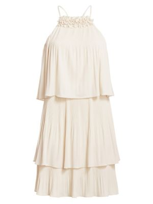 Pleated Tiered Jersey Dress