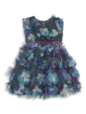 Little Girl's Amelia 3D Floral Appliqué Dress