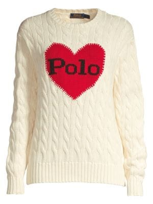 Heart Cable-Knit Cotton Sweater