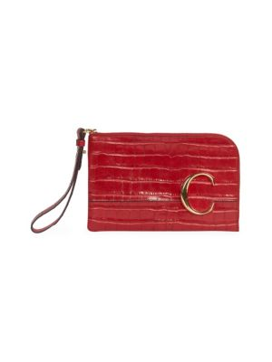 C Croc-Embossed Leather Pouch