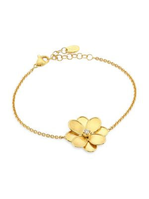 Petali 18K Yellow Gold & Diamond Flower Chain Bracelet