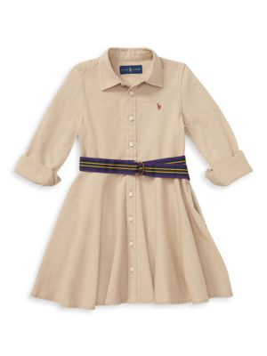 Little Girl's & Girl's Belted Chino Dress