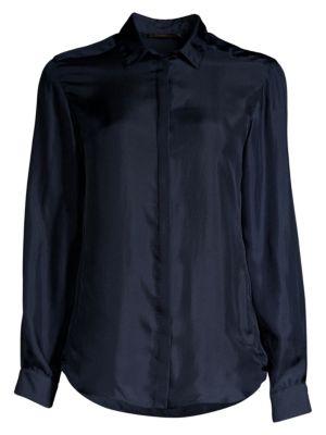 Silk Twill Button Front Shirt