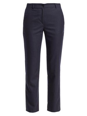 Wool Flannel Straight-Leg Ankle Pants