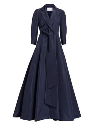Knot-Front Silk Trench Dress