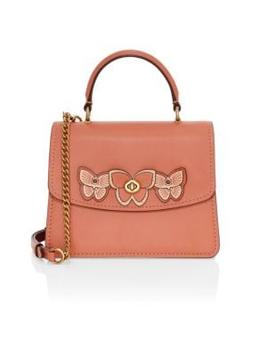 COACH | Butterfly Embellished Leather Top Handle Bag | Goxip