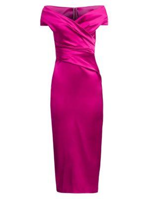 Off-The-Shoulder Wrapped Satin Cocktail Dress