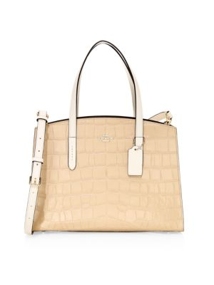 Croc-Embossed Leather Satchel
