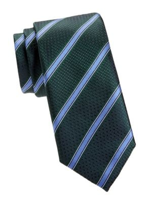 Check & Diagonal Stripe Silk Tie