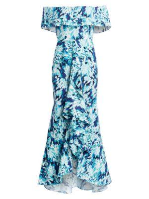 Cascading Ruffle Print Dress