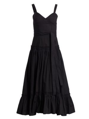Sleeveless Poplin Drop-Waist Midi Dress