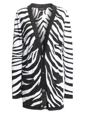 Zebra Jacquard V-Neck Longline Cardigan