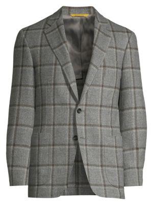 Classic-Fit Wool, Silk & Cashmere Plaid Sportcoat
