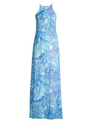 Margot Abstract Long Halter Dress