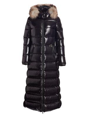 Hudson Lacquer Fox Fur-Trim Puffer Coat