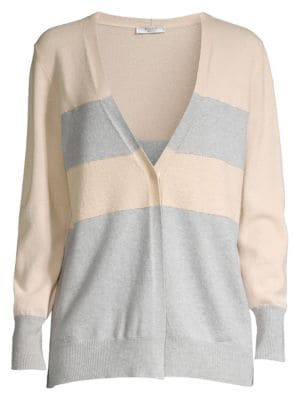 Colorblock Striped Wool, Silk & Cashmere Cardigan