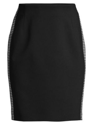 Punto Milano Houndstooth Stripe Pencil Skirt