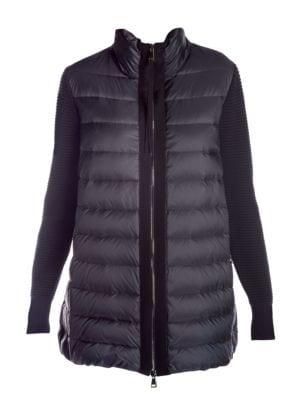 Long Down Knit Combo Jacket