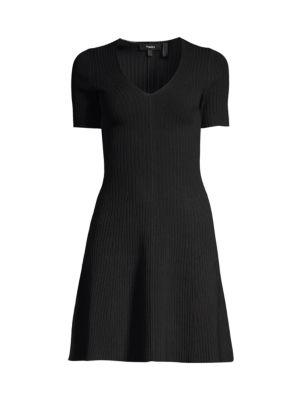 Rib-Knit Fit-&-Flare Dress
