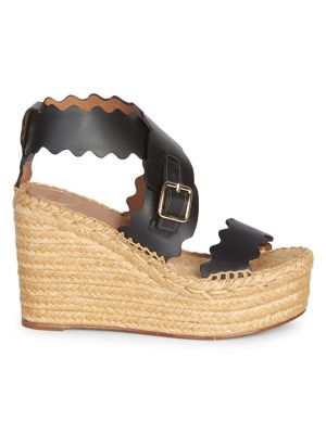 Lauren Leather Espadrille Platform Wedge Sandals