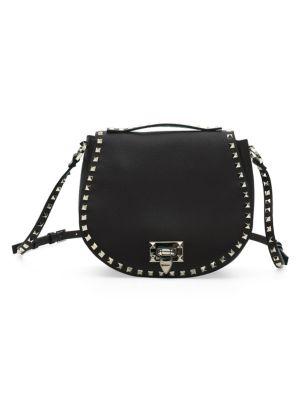 Valentino Garavani Small Rockstud Leather Saddle Bag