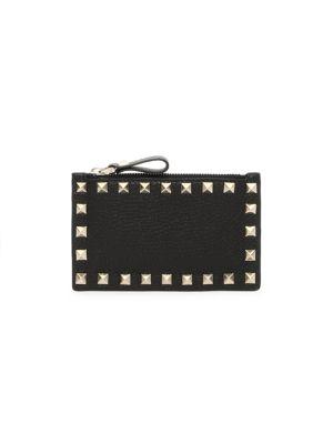Rockstud Leather Zip Card Case