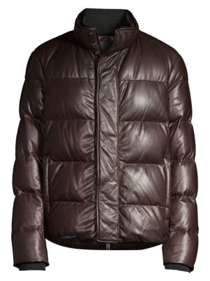 Goose Down Leather Puffer Jacket