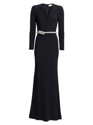 Crystal Rope V-Neck Gown
