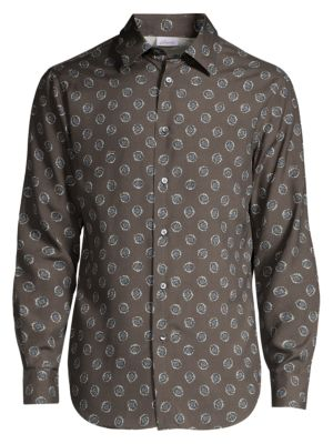 Medallion-Print Silk Shirt