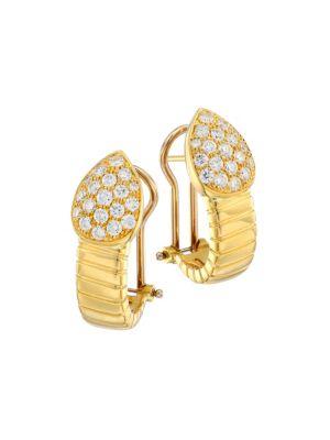 Via Brera 18K Yellow Gold & Pavé Diamond Pear Earrings
