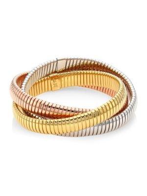 "Via Bagutta 18K Yellow, White & Rose Gold Ribbed Bangle Bracelet/0.40"""