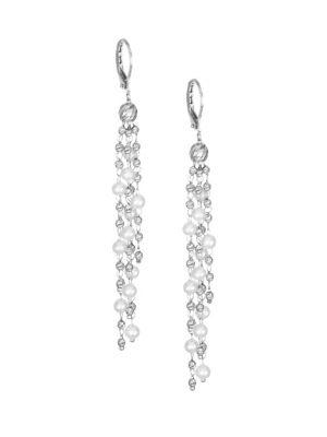 Debut 3.55MM White Freshwater Pearl & Platinum Drop Earrings